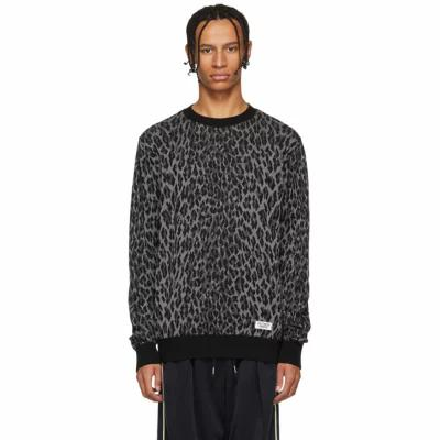 ワコマリア Wacko Maria ニット・セーター Black & Grey Leopard Jacquard Sweater