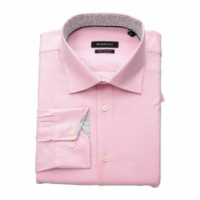 ブガッチ BUGATCHI シャツ Shaped Fit Long Sleeve Woven Shirt Pink