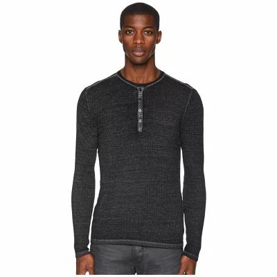 ジョン バルベイトス John Varvatos Collection ニット・セーター Long Sleeve Henley K2334U3 Metal Grey