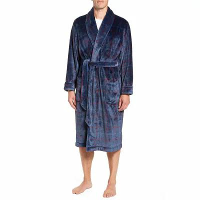 ノードストローム NORDSTROM MEN'S SHOP ガウン・バスローブ Windowpane Fleece Robe Navy -Red Windowpane