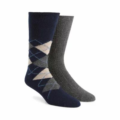 ノードストローム NORDSTROM SIGNATURE ソックス 2-Pack Cashmere Blend Socks Charcoal/ Navy Argyle