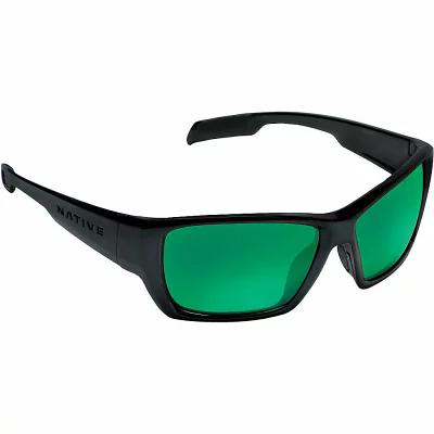 ネイティブ メガネ・サングラス Native Ward Polarized Sunglasses Matte Black / Green Reflex