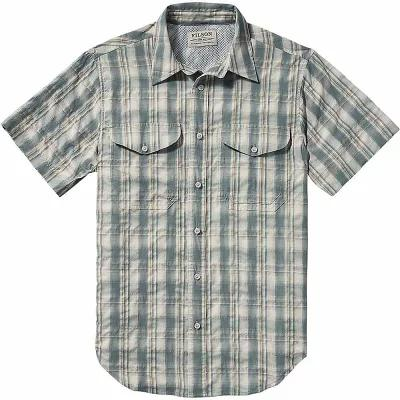 フィルソン 半袖シャツ Filson Twin Lakes Short Sleeve Sport Shirt Blue / White / Moss Plaid