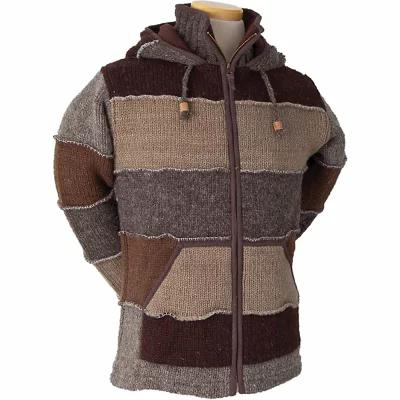 ランドロマット ニット・セーター Laundromat Patchwork Fleece Lined Sweater Dark Brown