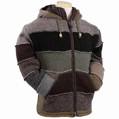 ランドロマット ニット・セーター Laundromat Patchwork Fleece Lined Sweater Green