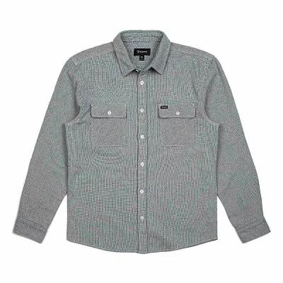 ブリクストン シャツ Bowery LS Flannel Light Blue / White