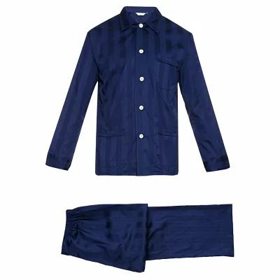 デリックローズ Derek Rose パジャマ・上下セット Lingfield shadow-stripe cotton pyjama set