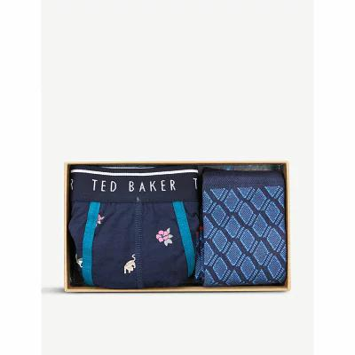テッドベーカー ted baker ボクサーパンツ slip cotton boxer and socks set Navy