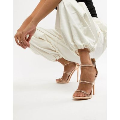 ミスガイデッド サンダル・ミュール Missguided 3 strap barely there sandals Rose gold