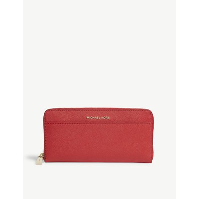 マイケル コース 財布 money pieces saffiano leather continental wallet Bright red