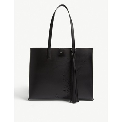 イヴ サンローラン トートバッグ perforated logo large leather shopper Black