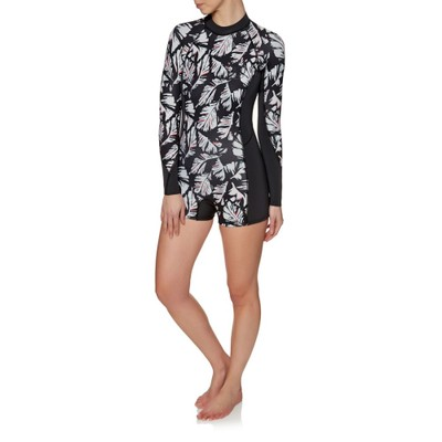 ビラボン ウェットスーツ Billabong Spring Fever 2mm 2018 Long Sleeve Back Zip Shorty Wetsuit Black Sands