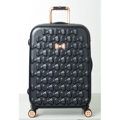 テッドベーカー スーツケース・キャリーバッグ Medium Beau Bow Embossed Four-Wheel 27-Inch Trolley Suitcase Black