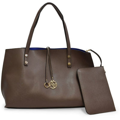 アドリエンヌ ヴィッタディーニ トートバッグ THE CAROLINE COLLECTION LARGE TOTE WITH ACCESSORY POUCH TAUPE