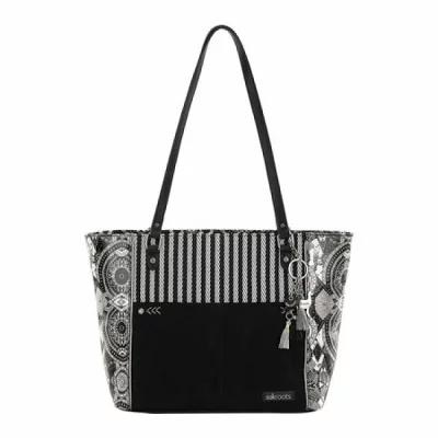 サックルーツ Sakroots ハンドバッグ Artist Circle Metro Satchel Black/White Wanderlust