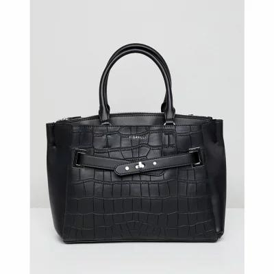 フィオレッリ Fiorelli トートバッグ Alma Black Croc Buckle Front Tote Bag Black croc