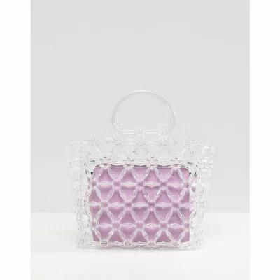 エイソス ASOS DESIGN クラッチバッグ beaded boxy clutch bag with contrast inner clutch bag Clear