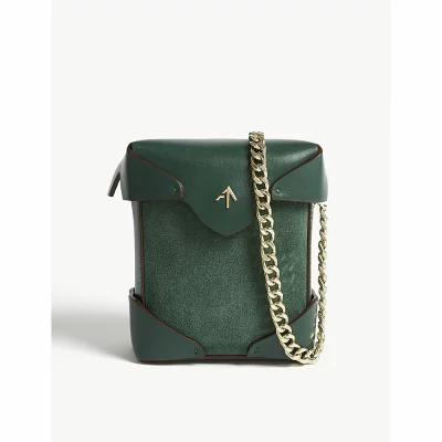 マニュ アトリエ manu atelier ショルダーバッグ micro pristine suede and leather cross-body bag Emerald green