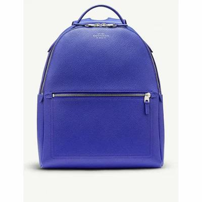 スマイソン smythson バックパック・リュック panama small cross-grain leather backpack Cobalt