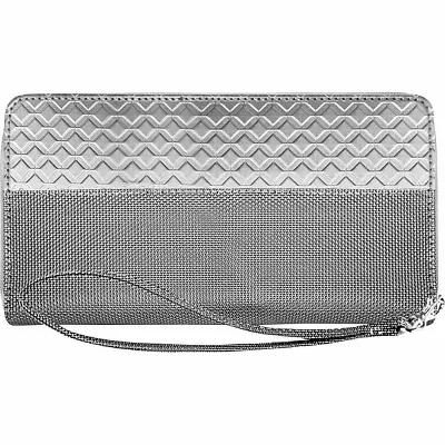 スチュワート スタンド Stewart Stand 財布 RFID Blocking Zipper Wristlet Travel Wallet Silver/Grey Mesh