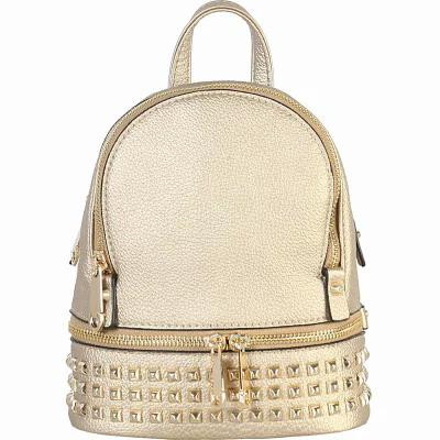リメン&コー Rimen & Co バックパック・リュック Golden Studded & Zipper Decor Mini Chic Backpack Gold