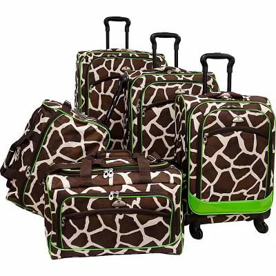 アメリカンフライヤー American Flyer スーツケース・キャリーバッグ Animal Print 5 Piece Spinner Luggage Giraffe Green