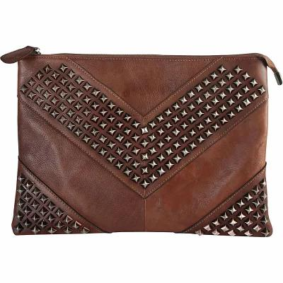 ディオフィ Diophy クラッチバッグ Vintage Studded Large Clutch Brown
