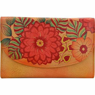 アヌシュカ ANNA by Anuschka 財布 Hand Painted Leather Ladies Tri Fold Wallet Summer Bloom