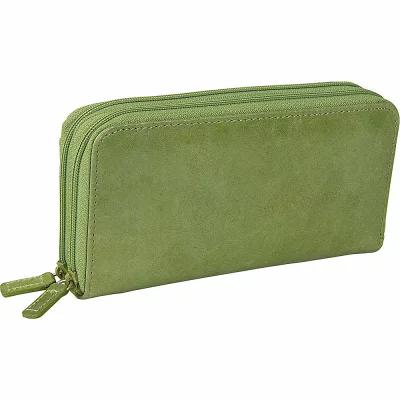 ブッドレザー Budd Leather 財布 Distressed Leather Double Zip Around Wallet Lime Green