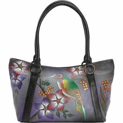 アヌシュカ ANNA by Anuschka トートバッグ Hand Painted Medium Tote Bird on Branch Grey