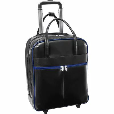 マックレーンユーエスエー McKlein USA パソコンバッグ Volo 15.6' Leather Laptop Overnighter Wheeled Carry-on Black/Navy Trim