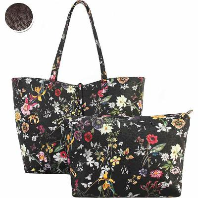 ディオフィ Diophy トートバッグ Colorful Floral Pattern Two-Tone Reversible Large Tote with Matching Crossbody 2 Piece Set Pewter