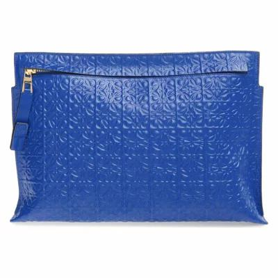ロエベ LOEWE クラッチバッグ Large Logo Embossed Calfskin Leather Pouch Electric Blue