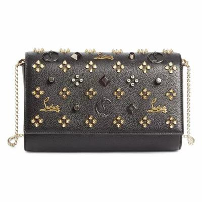 クリスチャン ルブタン CHRISTIAN LOUBOUTIN クラッチバッグ Paloma Empire Calfskin Clutch Black/Multimetal