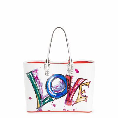 クリスチャン ルブタン CHRISTIAN LOUBOUTIN トートバッグ Cabata Paris Love Embellished Leather Tote White / White