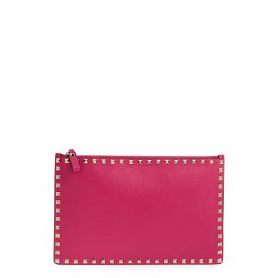 ヴァレンティノ VALENTINO GARAVANI クラッチバッグ Large Rockstud Flat Leather Pouch Disco Pink