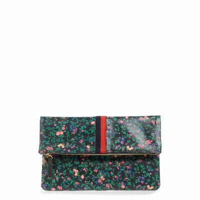 クレア ヴィヴィエ CLARE V. クラッチバッグ Foldover Ditzy Floral Leather Clutch Black