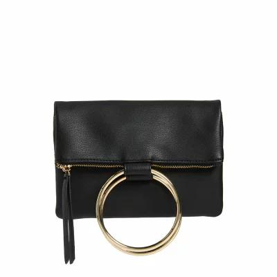 チェルシー28 CHELSEA28 クラッチバッグ Skyler Faux Leather Foldover Clutch Black