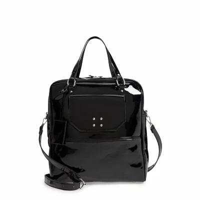 レイト LEITH トートバッグ Glossy Faux Leather Structured Tote Bag Black