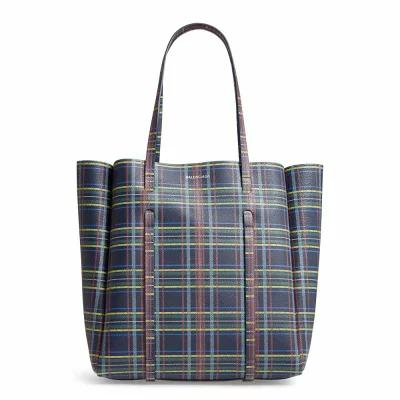 バレンシアガ BALENCIAGA トートバッグ Everyday Plaid Calfskin Tote Bleu Navy/ Yellow/ Green