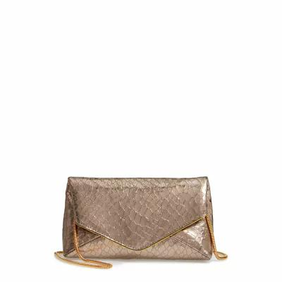 ドリス ヴァン ノッテン DRIES VAN NOTEN クラッチバッグ Snake Embossed Leather Envelope Clutch Silver