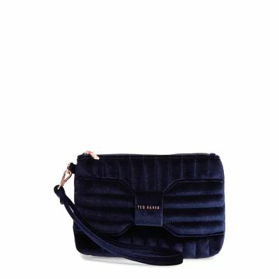 テッドベーカー TED BAKER LONDON クラッチバッグ Junie Bow Quilted Velvet Wristlet Dark Blue