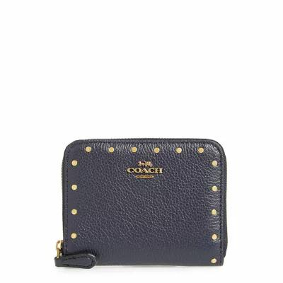 コーチ COACH 財布 Small Rivets Leather Zip Around Wallet Midnight Navy