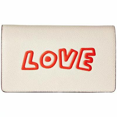 コーチ COACH クラッチバッグ Keith Haring Leather Fold-Over Clutch Crossbody Chalk