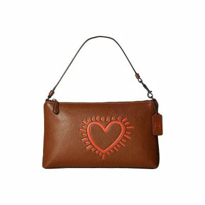コーチ COACH クラッチバッグ Keith Haring Leather Large Wristlet 25 Saddle