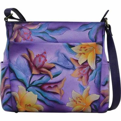 アヌシュカ ANNA by Anuschka ショルダーバッグ Hand Painted Leather Side Pocket Crossbody 8356 Sugar Lily