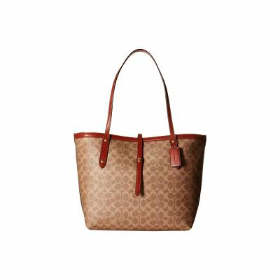 コーチ COACH トートバッグ Market Tote in Coated Canvas Signature B4/Tan Rust