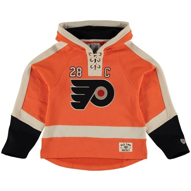 Old Time Hockey Claude Giroux Philadelphia Flyers Youth Orange Current Player Lacer Name & Number Pullover Hoodie キッズ
