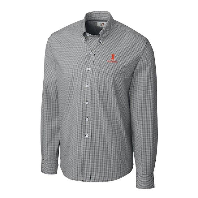 Cutter & Buck Illinois Fighting Illini Charcoal Gingham Button-Down Long Sleeve Shirt メンズ
