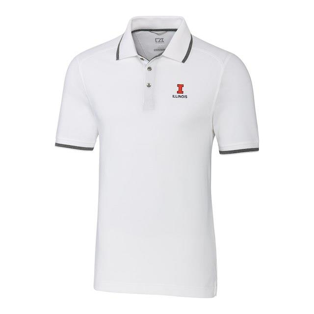 Cutter & Buck Illinois Fighting Illini White Big & Tall Advantage Tipped Polo メンズ